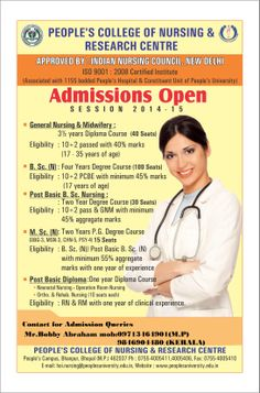 .nursing admission open for 2014-15 in 1155 bedded  hospital in bhopal contact