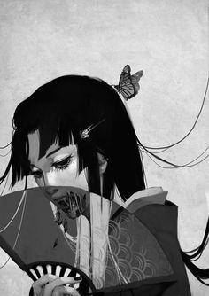 Illustration art light Black and White Cool anime japan japanese creepy horror b. Geisha Kunst, Geisha Art, Anime Kunst, Anime Art, Geisha Anime, Manga Anime, Arte Horror, Horror Art, Art And Illustration