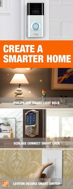 Automate your home with Wi-Fi enabled Smart Home products. Use keyless entry with smart device, hub or code, monitor the door whenever you are away and turn on the lights before arriving home. Tap to shop Smart Home at The Home Depot. Pallet Patio Furniture, Home Decor Furniture, Philips Hue, Chic Bathrooms, Home Upgrades, First Home, Smart Home, My Dream Home, Home Projects