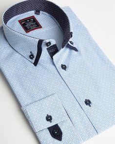 Blue striped double collar shirt