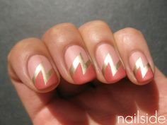 coral and peach lightening bolt nails
