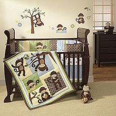 Decorate a cute and friendly nursery with one of these monkey baby bedding sets. A monkey nursery is a fun way to welcome your baby to his or. Baby Boy Bedding Sets, Baby Boy Cribs, Baby Boy Nursery Themes, Baby Crib Bedding Sets, Crib Sets, Bed Sets, Baby Boy Nurseries, Nursery Ideas, Nursery Supplies