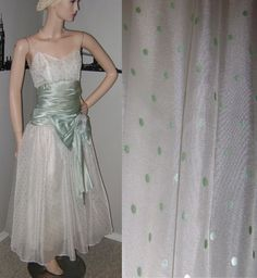 80's Formal Dress Mint Green Polka Dot by PopcornVintageByTann