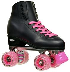 New Epic Classic Black  Pink LED Light Up HighTop Quad Roller Skates w 2 Pair of Laces Black  Pink Mens 8 *** You can find out more details at the link of the image. (This is an affiliate link)