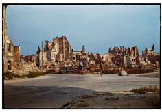 During World War II of Warsaw was destroyed. Dramatic snaps in colour show the centre of the city, including Śródmieście, Old Town and m. World War Two, Old World, Warsaw Uprising, Poland History, Warsaw Ghetto, Germany Poland, Old Town, Old Photos, Wwii