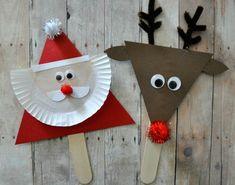 Christmas / Activities / Santa and reindeer stick puppets Kids Crafts, Preschool Christmas Crafts, Christmas Arts And Crafts, Santa Crafts, Reindeer Craft, Diy And Crafts Sewing, Santa And Reindeer, Christmas Activities, Simple Christmas