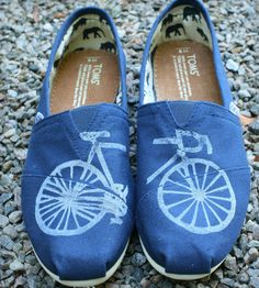Printed Bicycle Toms Shoes; Perfect gift for Cynthia :)
