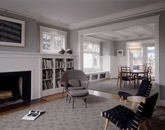 traditional living room by Sheri Olson Architecture PLLC | Benjamin Moore, walls Gray Horse.