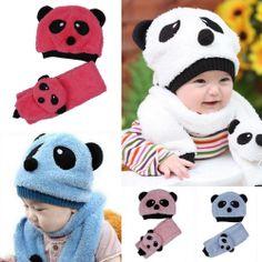 Unisex Baby Infant Lamb Velvet Fleece Plush Panda Cap Beanie Hat  Scarf Wrap