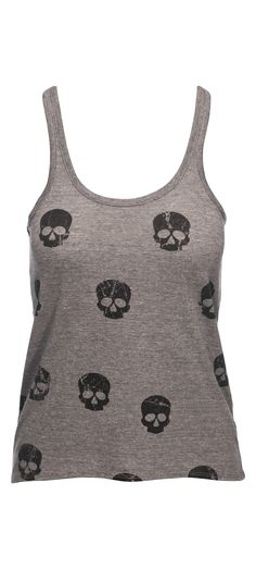 Chaser All Over Skulls Vintage Triblend Jersey Hi Lo Narrow Racer Tank in Grey / Manage Products / Catalog / Magento Admin