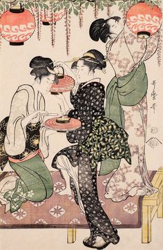 Teahouse girls under a wistaria espalier by Kitagawa Utamaro