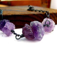 Rough gemstone bracelet, raw amethyst, oxidized sterling silver, wire wrapped, February birthstone