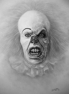 Tim Curry as Pennywise the Clown - Film Suggestion Scary Clown Drawing, Creepy Clown, Creepy Pics, Horror Drawing, Halloween Clown, Halloween Photos, Vintage Halloween, Best Horror Movies, Scary Movies