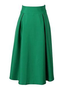 63e859c9c Choies Women's High Waist Skater Midi Skirt A-line Flared Long Skirt M  Choies http