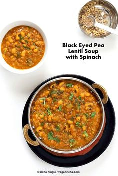Lentil Black Eyed Pea Soup with Greens - Vegan Richa