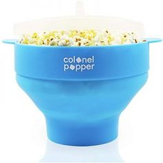 Colonel Popper Microwave Popcorn Maker Air Popper Silicone Bowl - Use any Kernels, Salt, Oil (Blue) Best Popcorn Maker, Best Microwave Popcorn, Free Popcorn, Popcorn Bowl, Hot Air Popcorn Popper, Air Popper, Specialty Appliances, Food Grade, All You Need Is