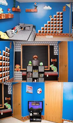 Totally awesome! Super Dad Creates Super Mario Themed Bedroom For Daughter | Geekologie #gamer #nintendo