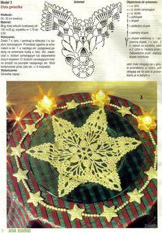 "Photo from album ""Moje robotki on Yandex. Crochet Snowflake Pattern, Crochet Snowflakes, Crochet Doilies, Crochet Patterns, Holiday Crochet, Crochet Home, Christmas Decorations, Holiday Decor, Crochet Earrings"