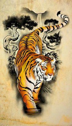 Tiger under cherry blossom tree - back tattoo Tiger Tattoo Design, Tiger Design, Tiger Tattoo Sleeve, Sleeve Tattoos, White Tiger Tattoo, Tiger Tattoos For Men, Tattoo Black, Tattoo Son, Back Tattoo