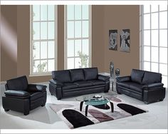 Marvelous Black Leather Sofas,Bonded Leather,Leather Living Room ...