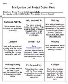Essay writing tips for apush give your ap us history students the immigration tic tac toe menu there are very good ideas here fandeluxe Choice Image