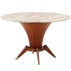 1950s Unique wooden table base with detailed marble top and brass legs
