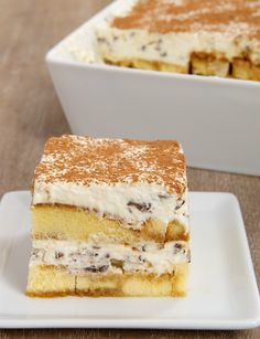 Chocolate Chip Tiramisu is a simple, delicious twist on classic tiramisu with pound cake and a creamy chocolate chip filling. - Bake or Break
