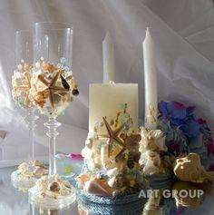 Beach Wedding Ceremony Set Toasting Champagne by ArtWeddingGroup