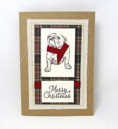 Merry Christmas  Bulldog Christmas Card  by PrettyByrdDesigns