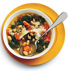 Tuscan White Bean Soup with Escarole - 25 Best Vegetarian Recipes - Cooking Light I LOVE SOUP! Even in 90 degree weather, I can go for a bowl of soup.  This one sounds delish.
