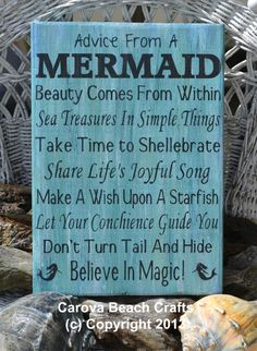 Beach Decor - Beach Sign - Mermaid - Coastal Sign - Nautical - Hand Painted, No Vinyl - Mermaid Decor - Advice From A Mermaid - Wood