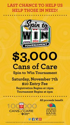 LAST CHANCE TO HELP THOSE IN NEED! Saturday November 7th Registration noon tournament 1-7pm.  First place $750 cash @SouthlandPark
