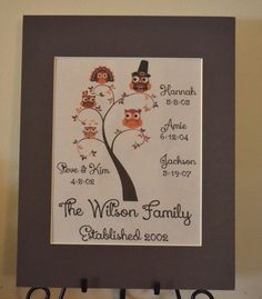 Thanksgiving Owl Family Print with Names and by BloomingDoorDecor, $20.00