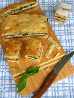 Pretty Italian Pressed Sandwiches - Great Idea for a party. could use a LC focccia or chibatta dough