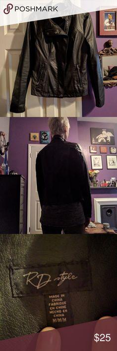 Faux leather jacket Black polyurethane jacket  Worn only few times RD Style Jackets & Coats