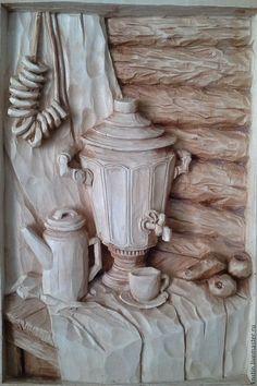 Натюрморт ручной работы. Ярмарка Мастеров - ручная работа. Купить У самовара 2. Handmade. Резная картина, картина из дерева