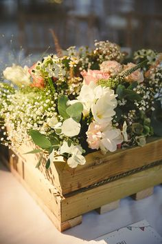 Recycled wooden boxes filled with Summer flowers, Paintworks