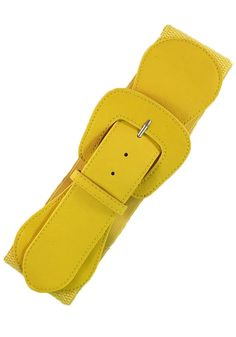 Faux Leather Elastic Cinch Belt, Yellow
