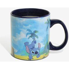 Disney Lilo & Stitch Islands Heat Reveal Mug ($16) ❤ liked on Polyvore featuring home, kitchen & dining, drinkware, disney cups, black mug, stitch mug, black cup and stitch cup