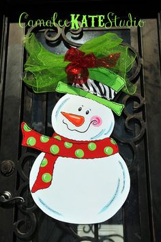 Zebra, red / lime green polka dot Snowman Wooden Door Hanger. Hand painted then accented with glitter and Deco Mesh Ribbon - personalized Free!