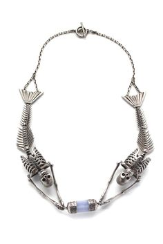 NOIR Mermaid Skeletons & Rough Stone Necklace. Itd be cool if the stone were a pearl instead