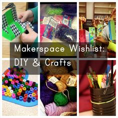 Makerspace Wishlist Part 4 DYI & Crafts: When it comes to Makerspaces, many prefer to think of all expensive, whiz-bang technology and equipment. While that's perfectly fine and great for students, there's a lot of benefits that can come. Middle School Libraries, Elementary Library, Teen Programs, Library Programs, Library Activities, Stem Activities, Library Center, Library Lessons, Library Ideas