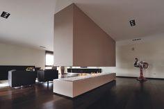 Surpreenda-se com as lareiras a gás abertas Contemporary Fireplace Designs, Electric Fires, Stove Fireplace, Tv Cabinets, Modern House Design, Guest Room, Beach House, Sweet Home, New Homes