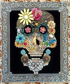 Handmade upcycled vintage jewelry skull framed artwork