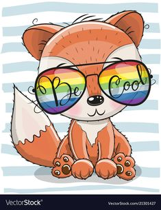 Cool Cartoon Cute Fox with sun glasses Cartoon Cartoon, Cartoon Monkey, Cartoon Chicken, Cute Dragons, Christmas Drawing, Fox Art, Cute Animal Pictures, Cute Images, Cool Cartoons