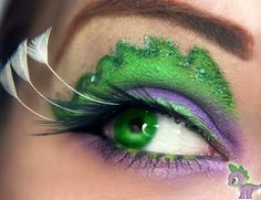 My Little Pony Friendship is Magic Spike the Dragon Eye Makeup Tutorial by Makeup your Jangsara - also includes Princess Luna aka Nightmare Moon and Princess Celestia.  This is one of my favorites!  #spikethedragon #mlp