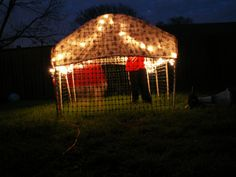 Tupelo Creative: Backyard Fort, with lighting! Best Trampoline, Backyard Trampoline, Trampoline Ideas, Outside Playhouse, Playhouse Outdoor, Outdoor Spaces, Outdoor Living, Cool Forts, Outdoor Forts