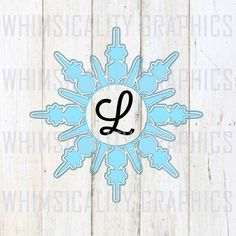 Digital File - Snowflake For Monogram svg, dxf, png and eps Commercial & Personal Use