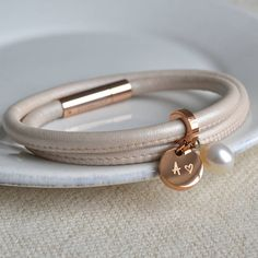 cream leather and rose gold wrap bracelet by lily belle | notonthehighstreet.com