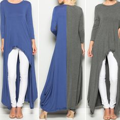 BACK IN STOCK!The HestiaTunic. $65 Crew neck. High-Low. 3/4 sleeves.Grecian draping sides. 95% Rayon 5% Spandex. Specify Color:Airy Blue orCharcoal.SpecifySize:S M L Available in stores 10/7/16    FREE SHIPPING | Shop this product here: http://spreesy.com/blacqskirt/62 | Shop all of our products at http://spreesy.com/blacqskirt    | Pinterest selling powered by Spreesy.com